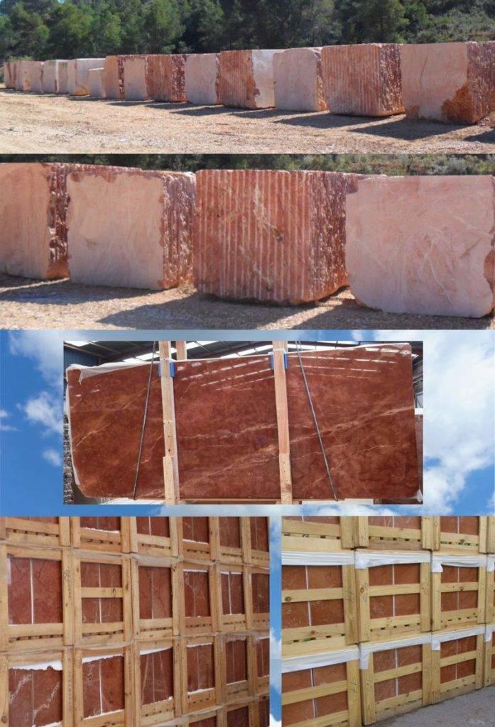 bloques losas y tablas de mármol rojo de Alicante